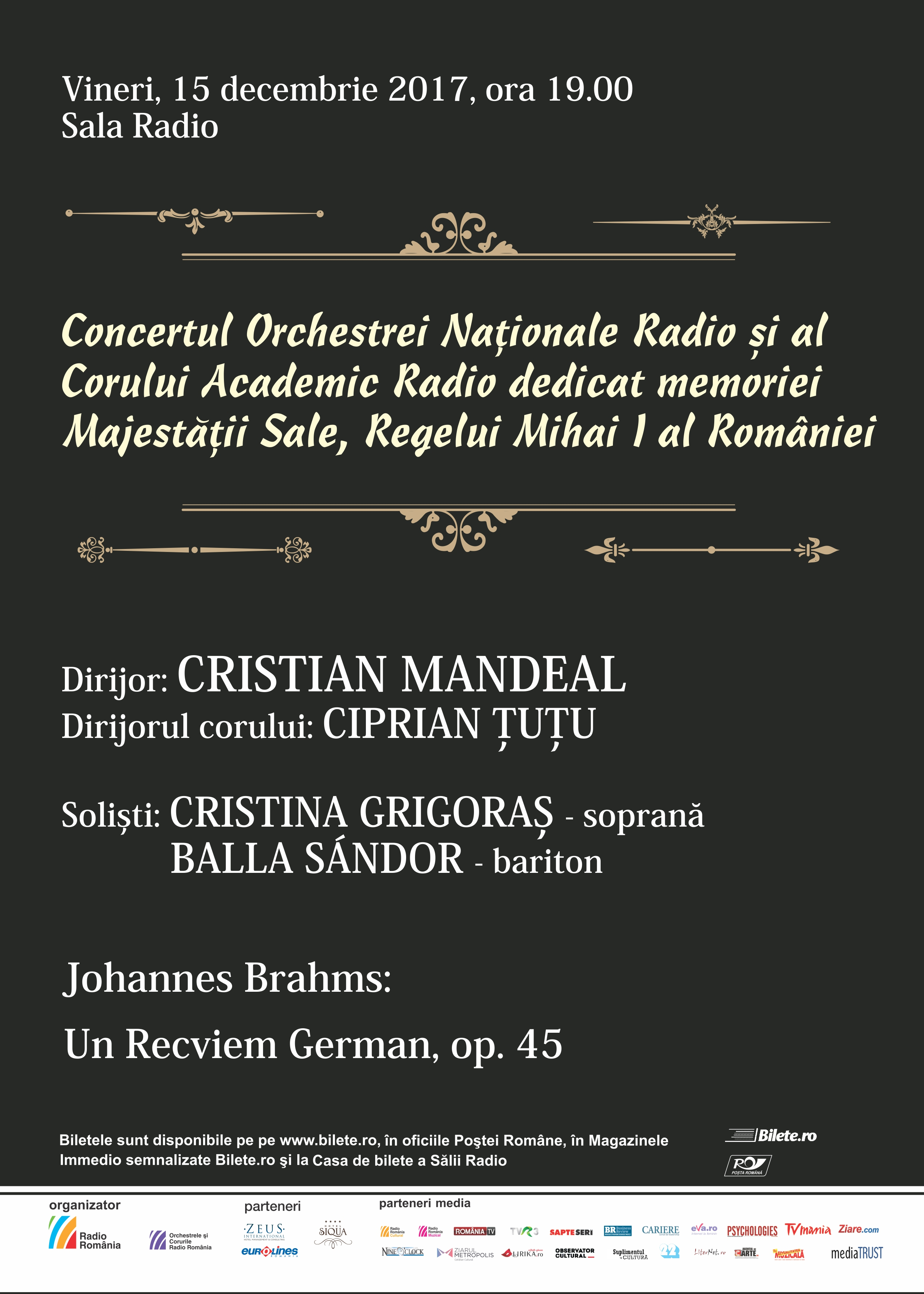 CRISTIAN MANDEAL – Concertul Orchestrei Nationale Radio şi al Corului Academic Radio dedicat memoriei Majestății Sale, Regelui Mihai I al României