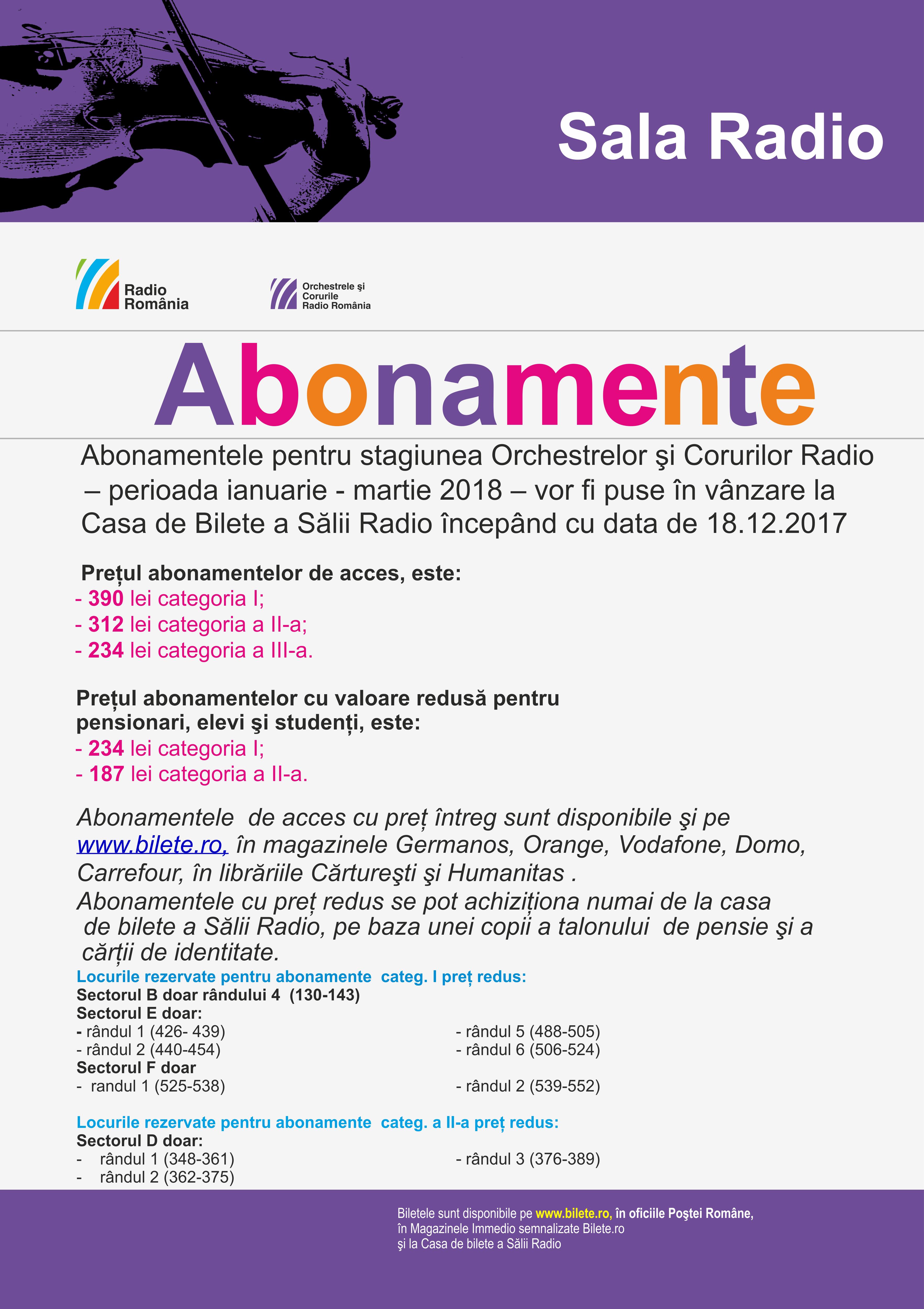 ABONAMENTE IANUARIE-MARTIE 2018