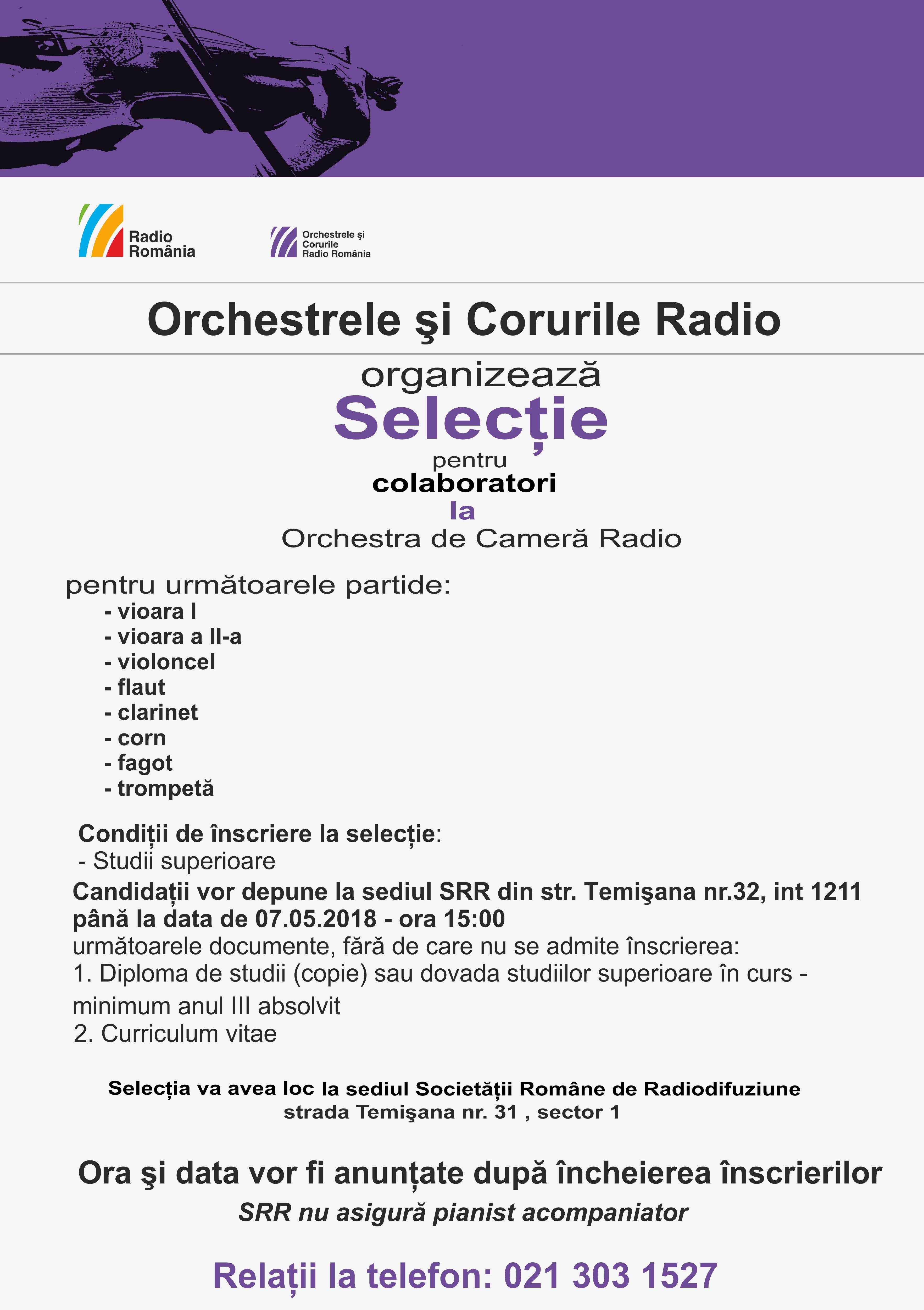 Selecţie colaboratori la Orchestra de Cameră Radio