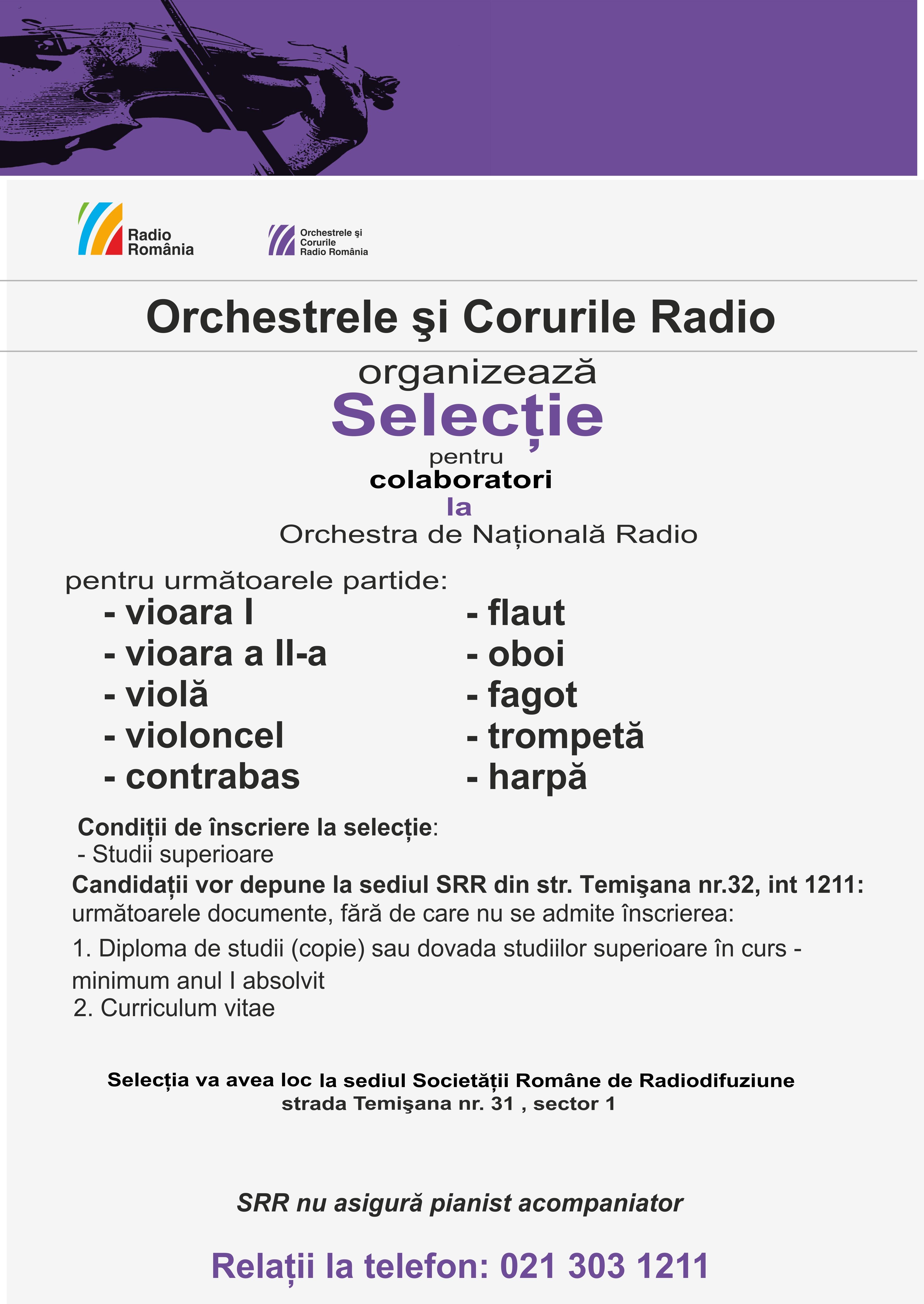 Selecţie colaboratori la Orchestra Naţională Radio