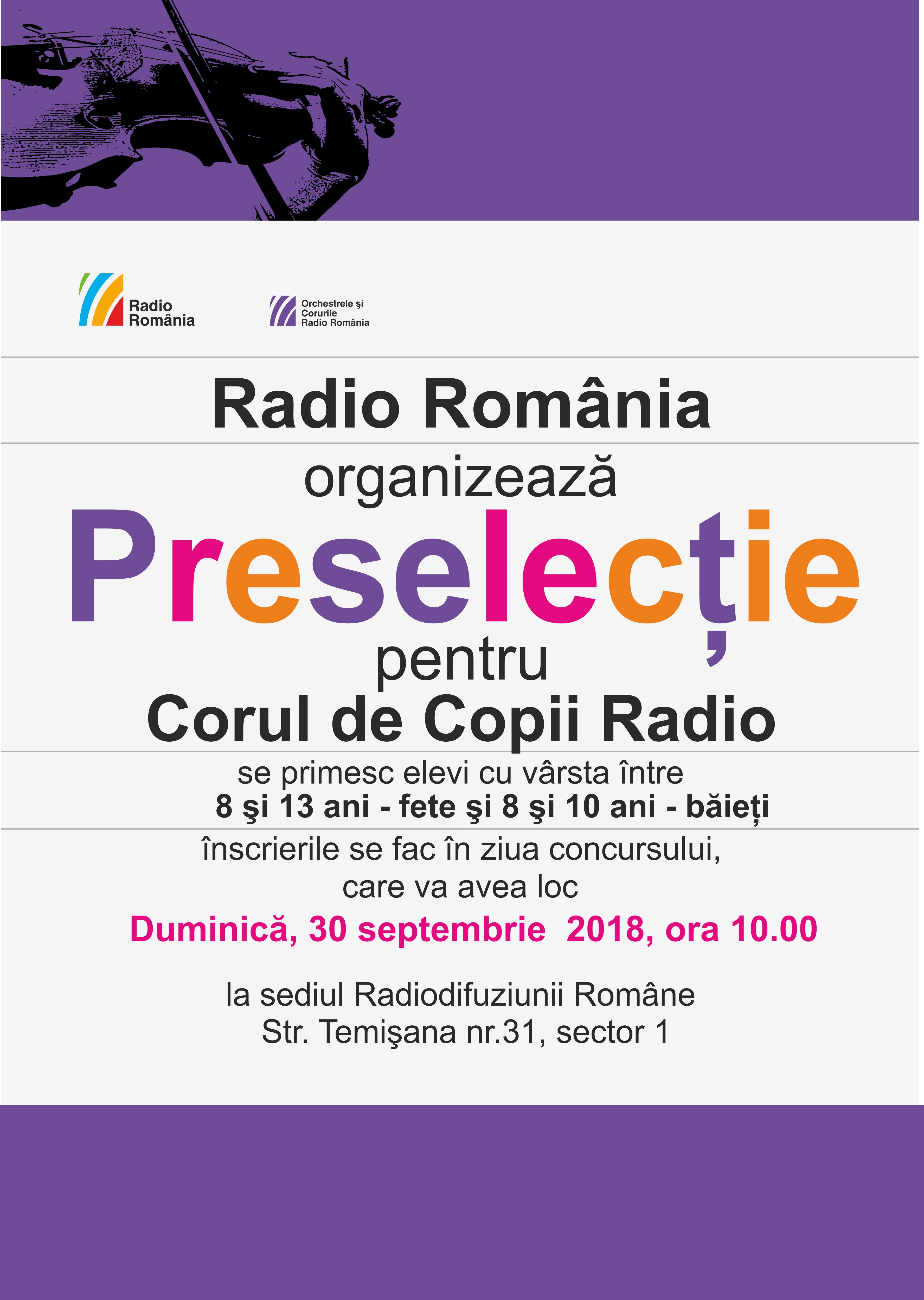 PRESELECŢIE PENTRU CORUL DE COPII RADIO