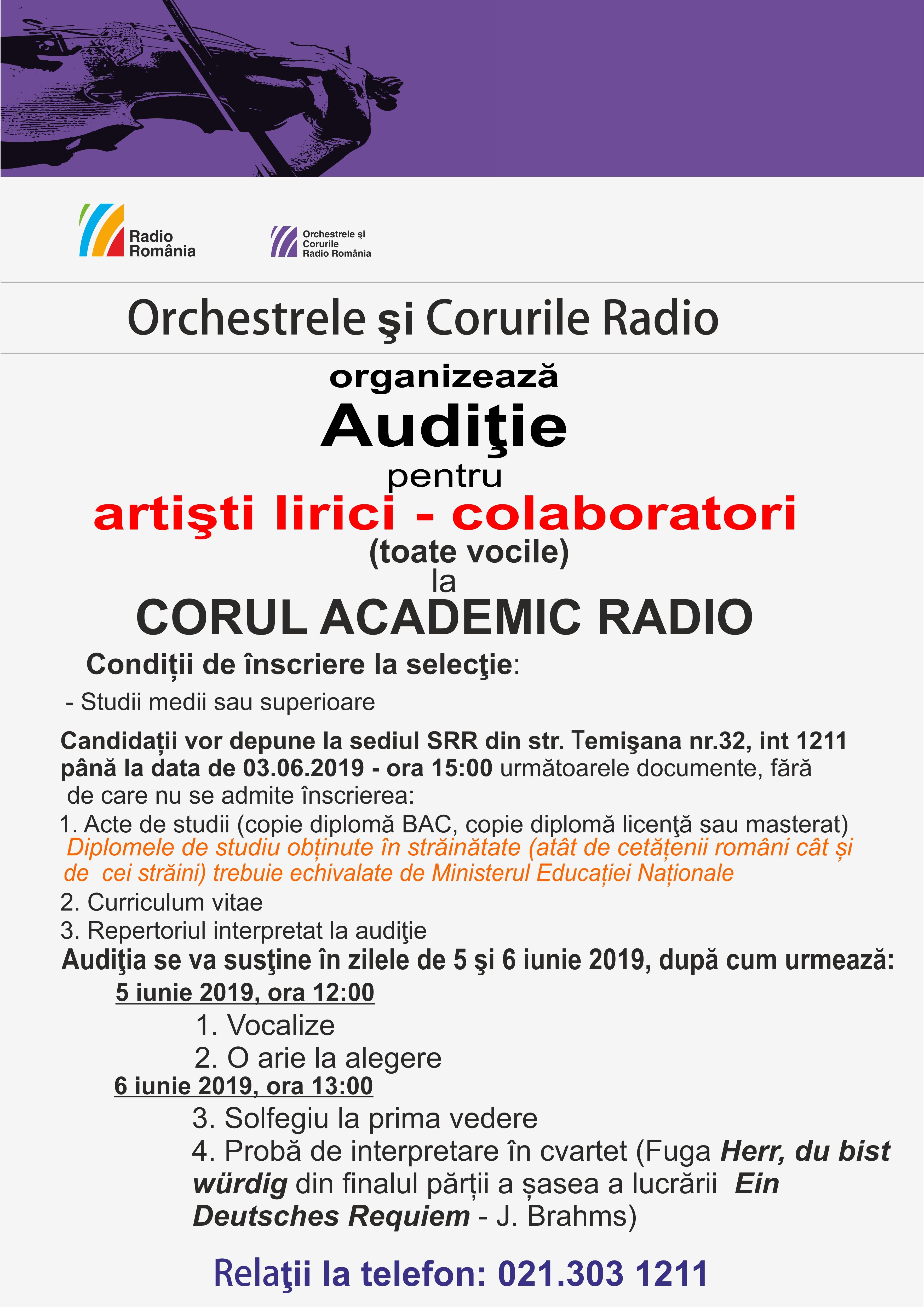 Audiţie pentru artişti lirici (toate vocile) – colaboratori la CORUL ACADEMIC RADIO